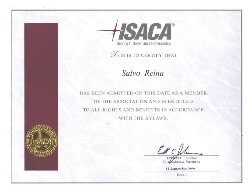 Certificate Isaca Membership La Mia Scienza